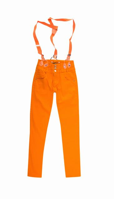 SL772 Ex UK Chainstore Orange Skinny Jeans With Braces x9