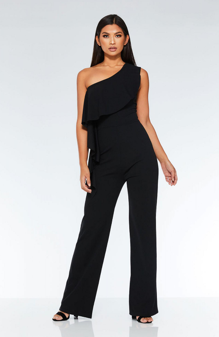 SL1430 Ex Chainstore One Shoulder Frill Palazzo Jumpsuit x11