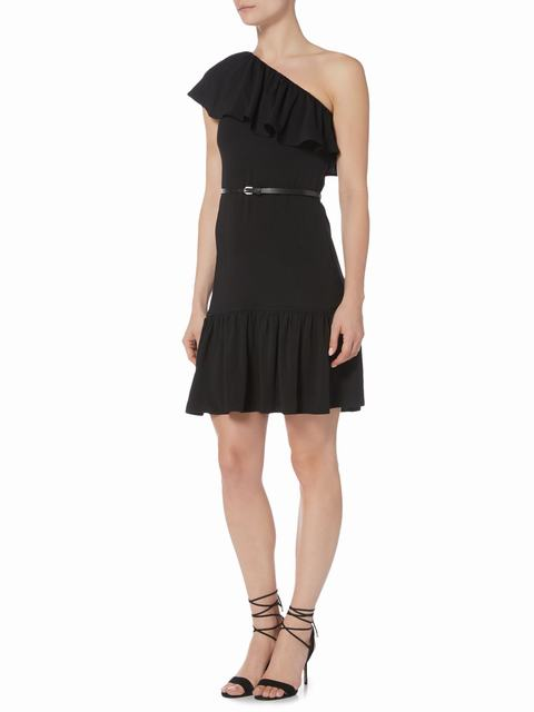 SL1017 Ex Chainstore One Shoulder Ruffle Dress - Black x12