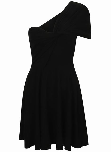 SL1260 Ex Chainstore Black One Shoulder Draped Skater Dress x12