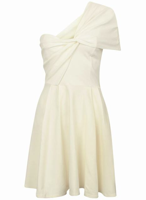 SL1259 Ex Chainstore Ivory One Shoulder Draped Skater Dress x12