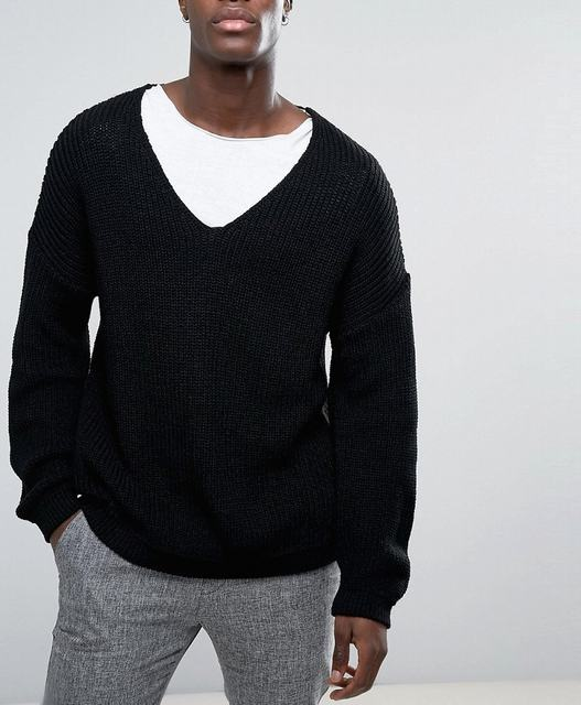 SM035 Ex UK Chainstore Slouchy V-Neck Jumper In Black x11