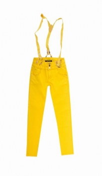 SL771 Ex UK Chainstore Yellow Skinny Jeans With Braces x9