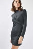 SL1016 Ex Chainstore Twist Front Bodycon Dress - Charcoal x12