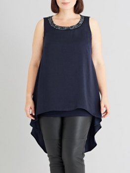 SL1223 Ex Chainstore Navy Trimmed Satin Top x12