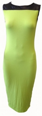 SL094 Ex UK Chainstore Wetlook Bodycon Dress - Lime x11
