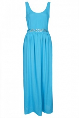 SL123 Ex UK Chainstore Crepe Lace Up Maxi - Turquoise x12