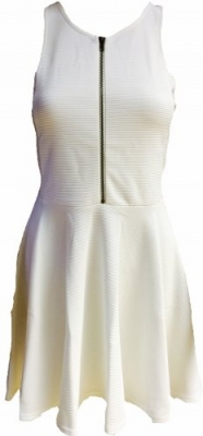 SL132 Ex UK Chainstore Front Zip Skater Dress - White x12