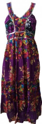 SL147 Ex UK Chainstore Floral Sequin Maxi - Purple x12