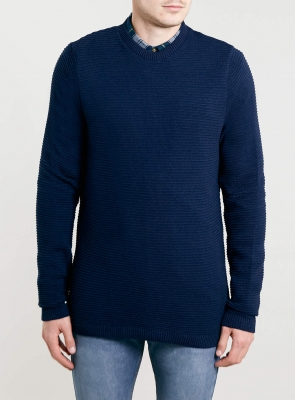 SM017 Ex UK Chainstore Horizontal Rib Jumper - Navy x12