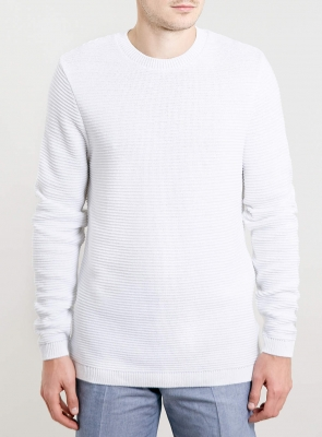 SM018 Ex UK Chainstore Horizontal Rib Jumper - White x12