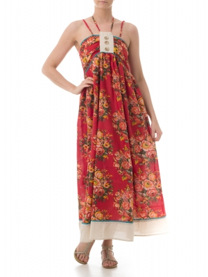 SL283 Ex UK Chainstore Floral Print Maxi Dress - Red x10