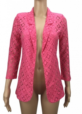 SL331 Ex UK Chainstore Floral Lace Jacket - Pink x14
