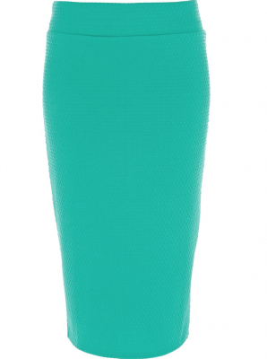 SL433 Ex UK Chainstore Bright Green Textured Tube Skirt x5