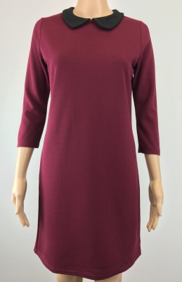 SL536 Ex UK Chainstore Rounded Collar Shift Dress - Berry x11