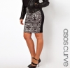 SL664 Ex UK Chainstore Black Pencil Skirt in Lace Print x13