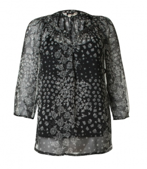 SL684 Ex UK Chainstore Black Paisley Print Tunic Top x12