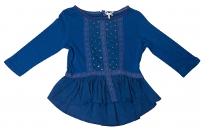 SC055 Ex UK Chainstore Sequin Smock Blouse - Blue x13