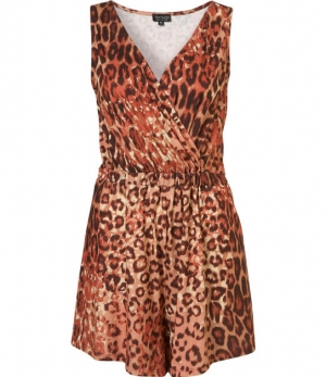 SL741 Ex UK Chainstore Animal Print Cutout Playsuit x6