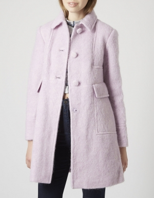 SL802 Ex UK Chainstore Lilac Mohair Boiled Wool Blend Coat x12