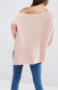 SL850 Ex UK Chainstore Boxy Jumper With Off Shoulder - Blush x12