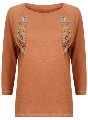 SL975 Ex UK Chainstore Rust Embroidered Crop Sleeve Sweater (x12