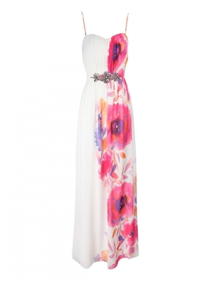 SL981 Ex UK Chainstore Floral Poppy Embellished Maxi Dress x12