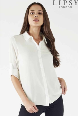 SL1035 Ex Chainstore White Button RollUp Sleeve Simple Shirt x10