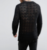 SM034 Ex UK Chainstore Crochet Jumper In Black x12