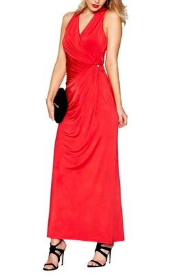 SL1064 Ex Chainstore Red jersey Josephine V-Neck Maxi Dress x12