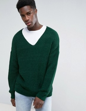 SM039 Ex UK Chainstore Green Slouchy V Neck Jumper x12