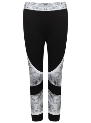 SL1095 Ex Chainstore Black Grey Marble Effect Pants x15