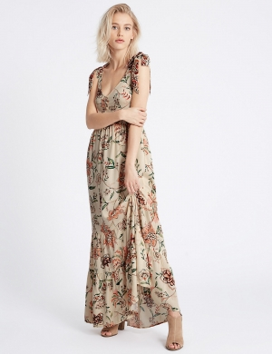 SL1143 Ex Chainstore Floral Print Tie Shoulder Maxi Dress x12