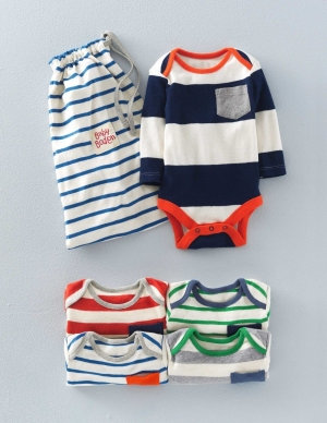 SC102 Ex Chainstore Baby Boys 4 Pack Pockets Mix Stripe Bodiesx6