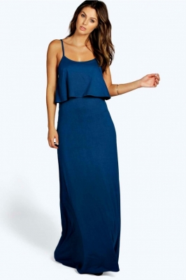 SL1196 Ex Chainstore Tie Back Maxi Dress - Ink x10