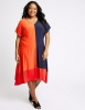 SL1222 Ex Chainstore Colour Block Jersey A-Line Midi Dress x14